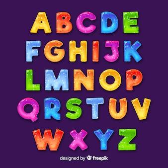 Alfabeto colorido desenhado de mão