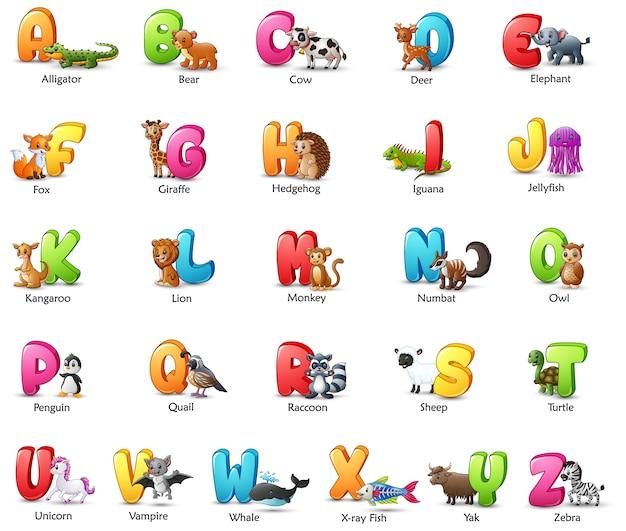 Alfabeto colorido dos desenhos animados com animais diferentes