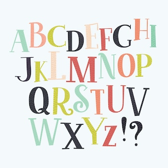 Alfabeto colorido em estilo vintage.