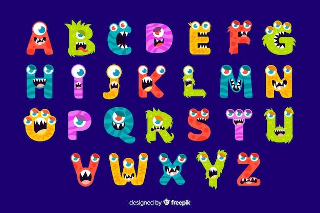 Alfabeto colorido monstro de halloween