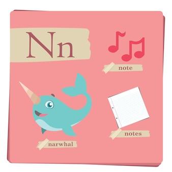 Alfabeto colorido para crianças - letra N