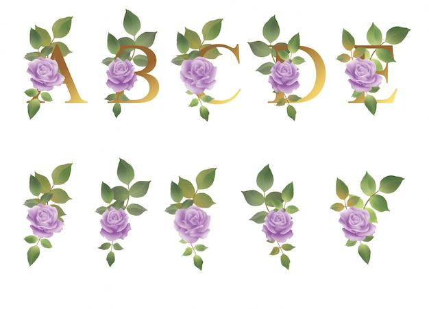 Alfabeto com decoração de flores e folhas em aquarela para decoração de convite de casamento