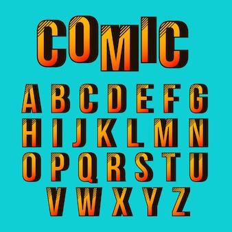 Alfabeto com design em quadrinhos 3d