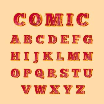 Alfabeto com estilo 3d em quadrinhos