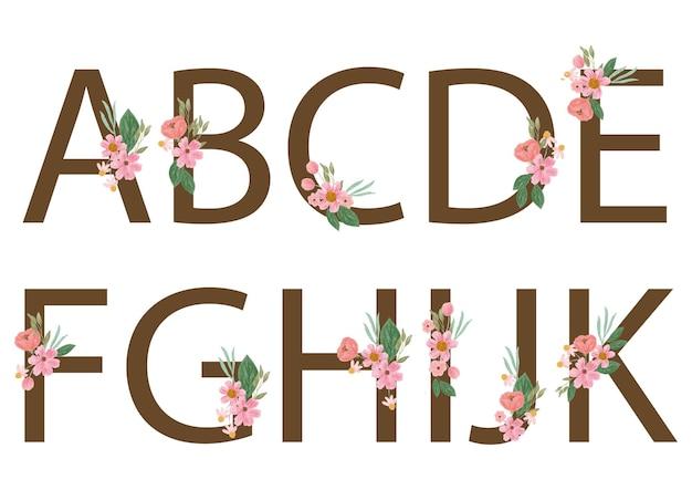 Alfabeto com flor rosa aquarela
