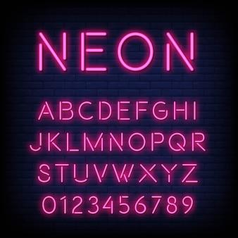 Alfabeto com letras e números em efeito de néon