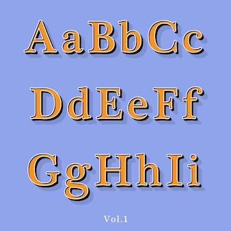 Alfabeto com relevo retro do estilo vintage com sombra alinhada.
