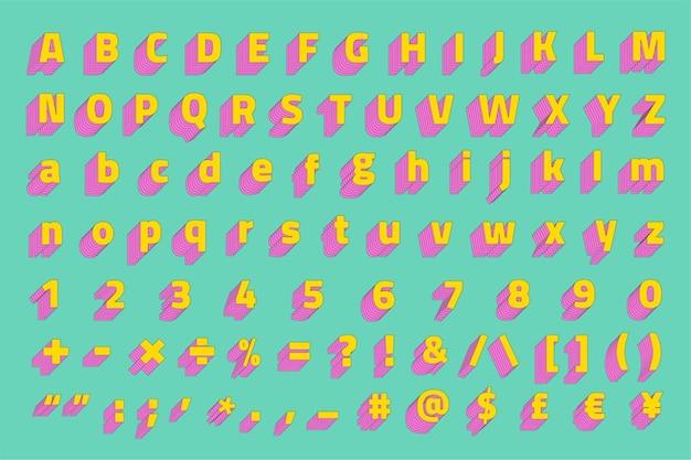 Alfabeto conjunto de fontes de vetor estilizado em 3d