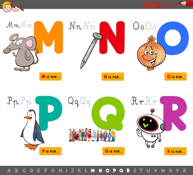 Alfabeto conjunto educacional para crianças de m a r