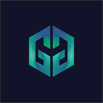 Alfabeto criativo gm logotipo gradiente
