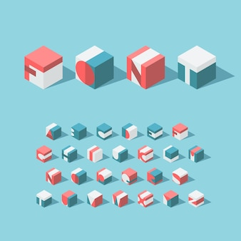 Alfabeto cúbico isométrico. tipo de letra latino. sem gradientes e transparência.