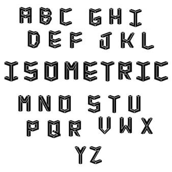Alfabeto cúbico isométrico.