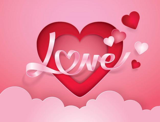 Alfabeto cursivo amor e arte de papel de fita de coração
