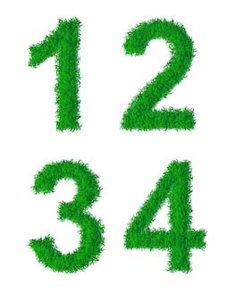 Alfabeto da grama verde, dígitos 1, 2, 3, 4