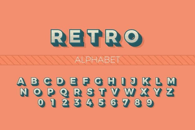 Alfabeto de à z em 3d estilo retro