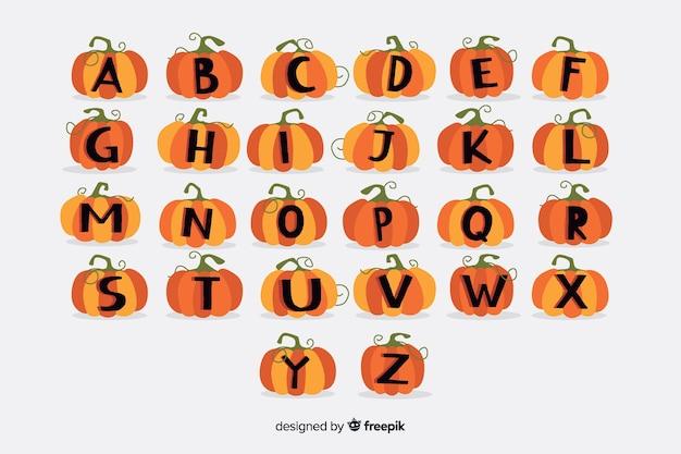 Alfabeto de abóbora com nervuras de halloween