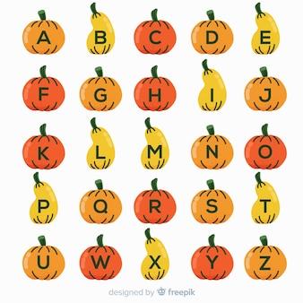 Alfabeto de abóbora de halloween em fundo branco