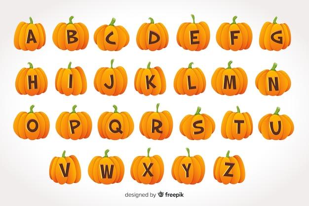 Alfabeto de abóbora de halloween em fundo gradiente