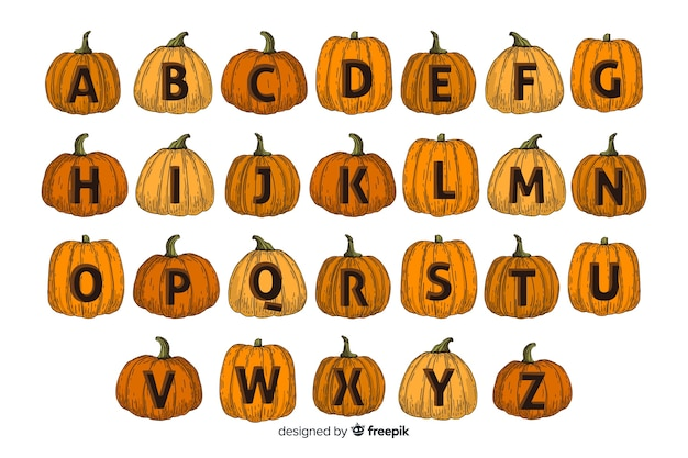 Alfabeto de abóbora de halloween