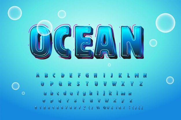 Alfabeto de água azul brilhante bonito