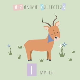 Alfabeto de animais bonito doodle cartoon impala i