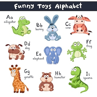 Alfabeto de animais dos desenhos animados