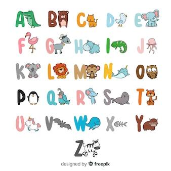 Alfabeto de animais fofos desenhado mão