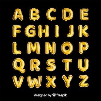 Alfabeto de balão dourado