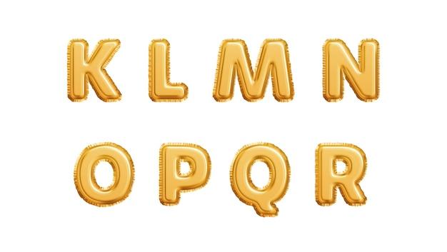 Alfabeto de balões dourados realista isolado no fundo branco. letras klmnopqr do