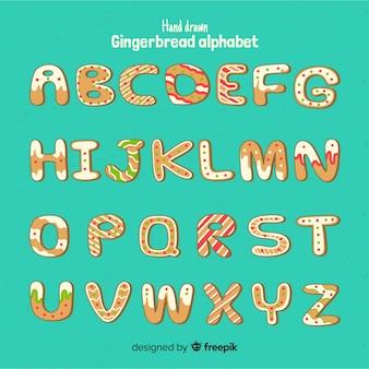 Alfabeto de biscoito de gengibre de natal