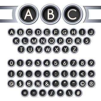 Alfabeto de botões de máquina de escrever