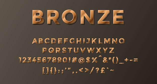 Alfabeto de bronze completo com números e símbolos