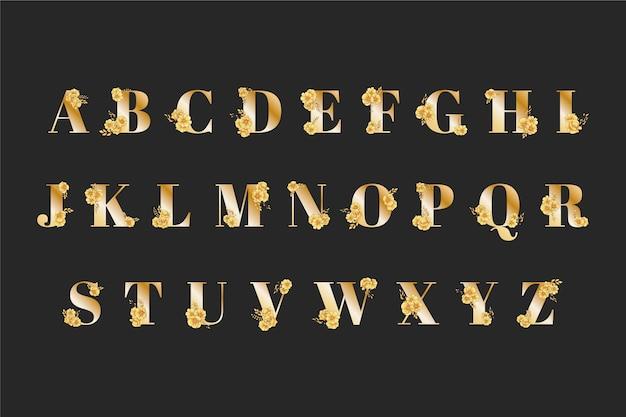 Alfabeto de casamento dourado com flores elegantes