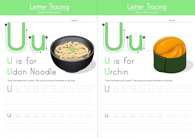 Alfabeto de comida de rastreamento de letra u