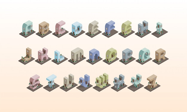 Alfabeto de construção isométrico 3d, tipo de letra colorido