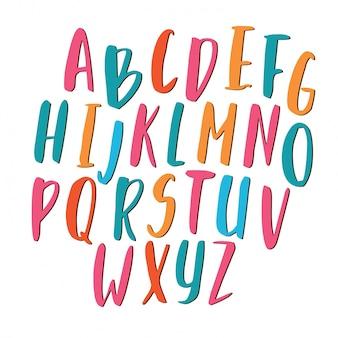Alfabeto de cores manuscritas