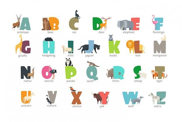 Alfabeto de crianças animais selvagens dos desenhos animados