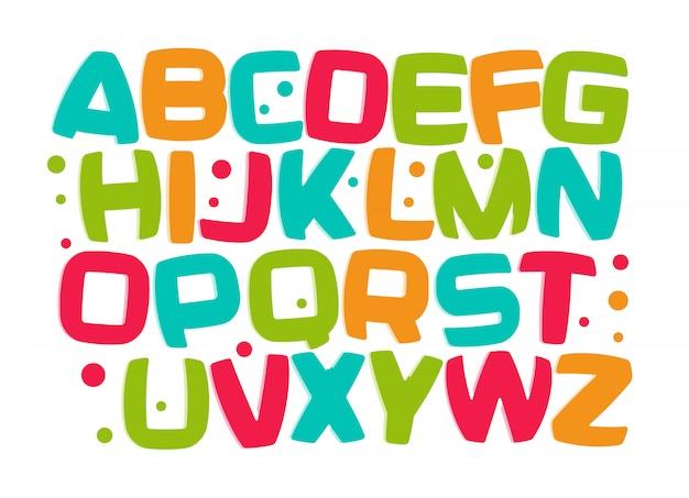 Alfabeto de crianças, conjunto de letras de criança