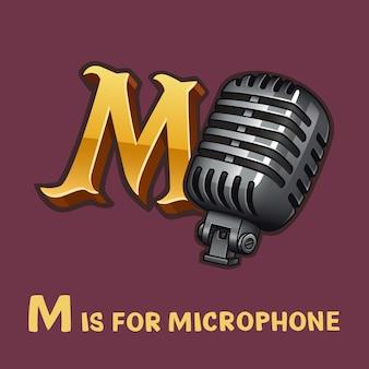 Alfabeto de crianças letra m e microfone