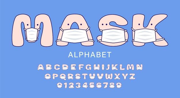 Alfabeto de desenho animado bonito em máscaras médicas brancas para crianças