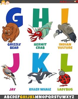 Alfabeto de desenho animado com personagens de animais engraçados