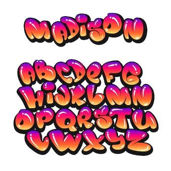 Alfabeto de desenho animado no estilo dos quadrinhos. graffiti.