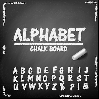 Alfabeto de desenho de mão de quadro de giz