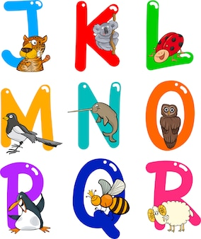 Alfabeto de desenhos animados com animais