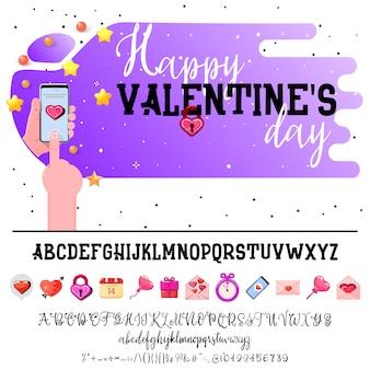Alfabeto de dia dos namorados e banner