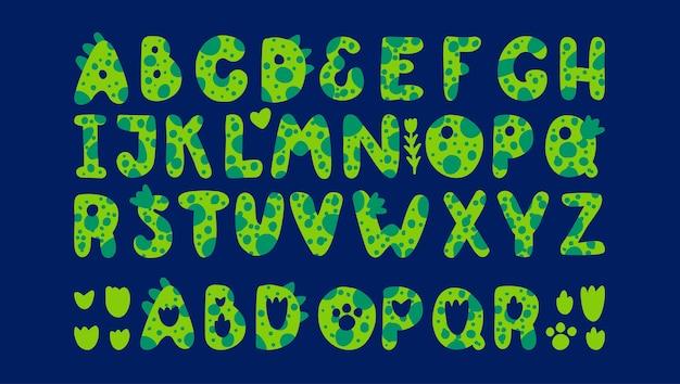 Alfabeto de dinossauros verdes fonte para impressões de dinossauros de crianças no estilo de dragões de monstros