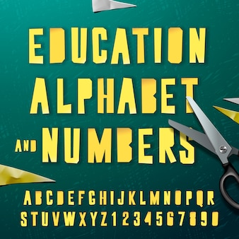 Alfabeto de educação e números, projeto de artesanato de papel, cortado por uma tesoura de papel.