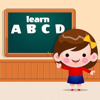 Alfabeto de ensino de menina bonitinha em frente a um quadro de giz com um ponteiro