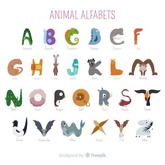 Alfabeto de escola de animais dos desenhos animados