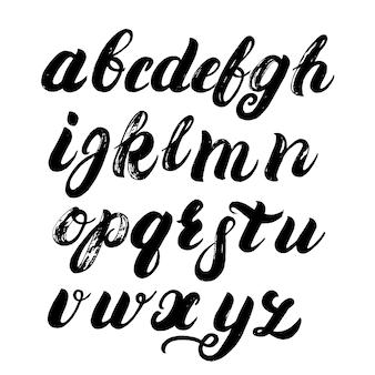 Alfabeto de escova escrita à mão.